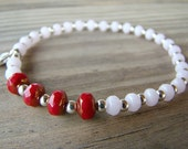 Stretch Bracelet, Pink, Glass Bead Bracelet, Red, Elastic Beaded Bracelet, Stacking Bracelet, Delicate, Women's Jewelry, Charm Bracelet