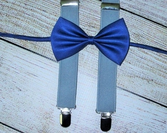 Satin Blue Bow Tie Gray Suspenders Baby Boys BowTie Suspenders Toddlers Infants Ready To Ship