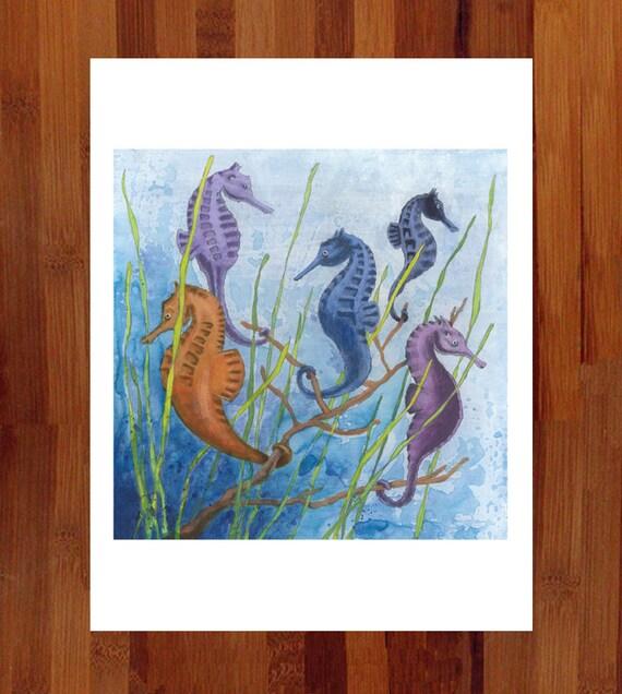 Seahorse Art, Blue Nursery Decor, Prints Illustrations, Cute Kids' Art, Whimsical Print, Child's Art, Kids' Room, Blue Art, Animal Art Print