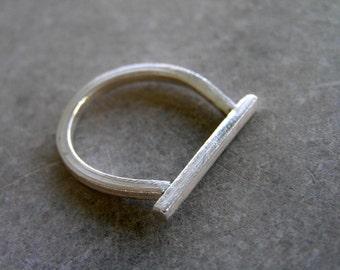 minimalist geometric sterling silver ring