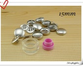 15 sets of 15mm ( 5/8 inch )  Size 24  Self cover buttons with Assembly  tool  fabric cover button kit