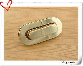 60mm x 28mm ( 2 3/4 inch x 1 1/16 inch ) Purse lock  twist  purse turn lock clutch clock  bag lock light gold    N1