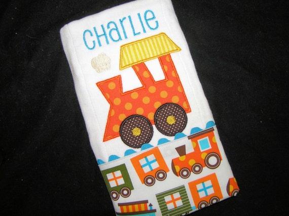 Personalized Baby Burp Cloth - Appliqued Train Engine - Choo Choo