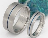 Thin Blue Line Titanium Wedding Band Set - Matching His and Hers - Blue Rings - stb34