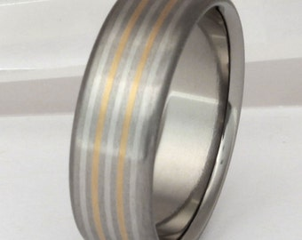 Gold Platinum and Titanium Wedding Band - Striped Precious Metal Ring - Illumination - m3