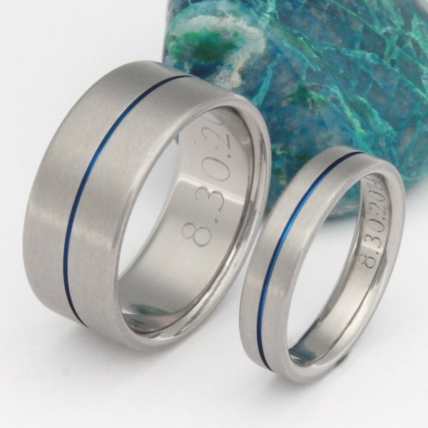 Thin Blue Line Titanium Wedding Band Set Matching His and
