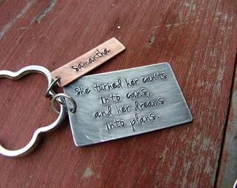 She Turned Her Can'ts Into Cans & Her Dreams Into Plans Custom hand stamped Key Chain by MyBella