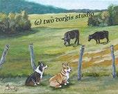 "25% off Promotion...Welsh Corgi Art Matted Print 12 x 16 from Original Painting ""Pasture Pals"" by artist Ann Becker"