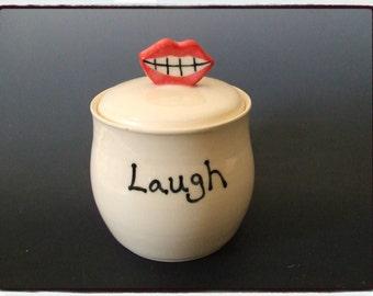 Laugh Jar with Big Smiling Lip Knob in White Glaze by misunrie