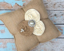 RING BEARER PILLOW / burlap ring bearer pillow , rustic wedding , barn yard wedding ,wedding pillow