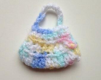 Handmade Barbie Clothes Purse Handbag Crochet Pink Blue Yellow Variegated (S1823)
