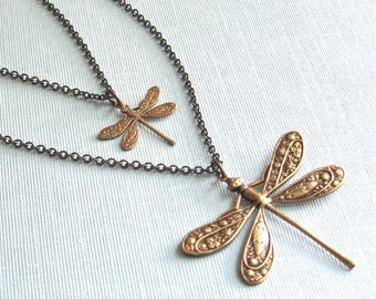 Layered Dragonfly Necklace - Double Strand Necklace, Dragonfly Jewelry, Nature Jewelry, Garden Jewelry, Brass Dragonfly