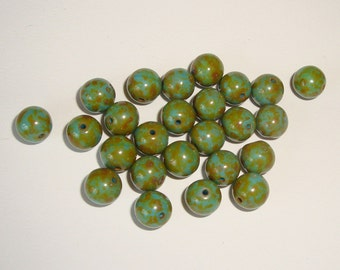 Czech Glass Druks 8mm turquoise Picasso  25 beads  DESTASHING CLEARANCE