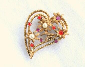 Open Heart Flowers Brooch Vintage Orange Purple Rhinestones Pearls Pin