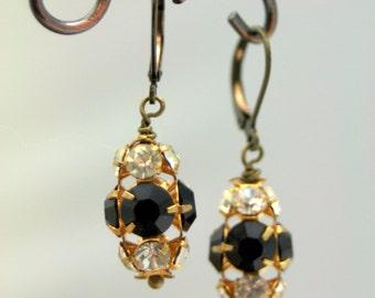 Black Tie Shimmer Vintage Glass Dangle Earrings Black White Affair of the Heart