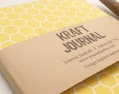 Kraft Lined Notebook/Journal by Journal Junky 5 x 7/50 Pages/Flowers/Rustic/Shabby Chic/Gift for Friend-Yellow Honeycomb Print