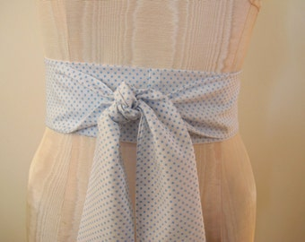 Blue and White Obi Bow Belt Dotted Swiss Polka Dot Cotton Fabric