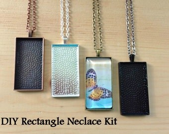 100pc...DIY Kit Rectangle Pendant Trays ...Makes 10 Pendant Necklaces...Chains, Trays, and Glass Tiles...Mix and Match ... 24mm x 48mm...RPT