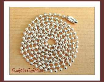 200pc...2.4mm High Quality Silver Ball Chains. Great for pendants, Cabochons, Scrabble and Glass Tiles.