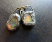 Shimmer beach glass earring pair with solder and flash. Faux Roman glass. 4