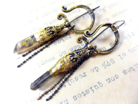 An Idea. Rustic cosmic tribal earrings with smokey quartz crystal points and gold leaf.