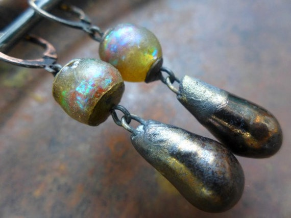 Unnerving Light. Rustic art bead dangle earrings.  Iridescent art beads, ceramics.