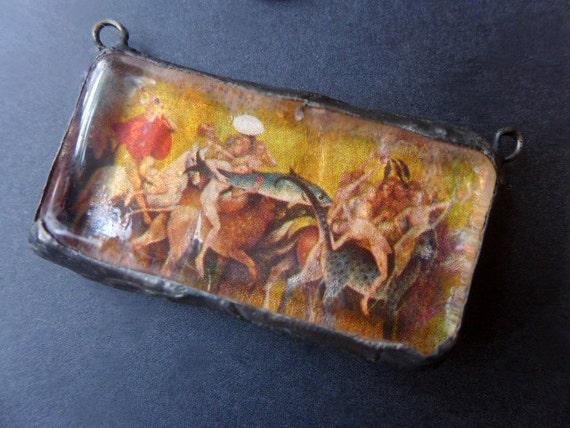 Purgatory. Art soldered glass pendant.Hieronymus Bosch.