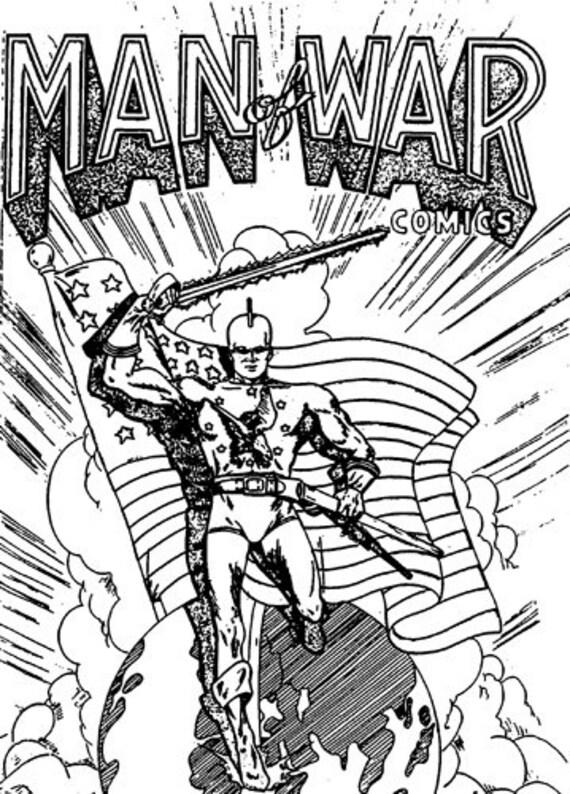 Man of War comic book black and white art printable digital stamp coloring page  super hero comics download printables images crafts