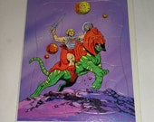 Vintage Puzzle - He Man Masters Of The Universe Puzzle - He Man and Battle Cat Puzzle -1980's Golden Frame Tray Puzzle - Mattel Puzzle 4313B