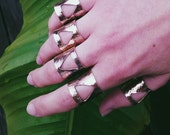 triangle, tube ring, adjustable, hammered, cuff ring, brass