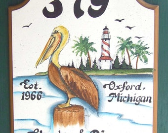 PELICAN Welcome Sign- Personalized Sign-Address Sign- Hand Painted-Hand Lettered- Weatherproof-Great Gift