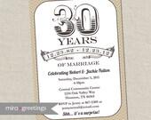 30th Anniversary Invitation - Pearl Taupe Tan Vintage Anniversary Party Invite - Fortieth (Printable Digital File)