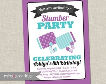 Slumber Party Invitation -  Birthday Party Invite - Sleepover Invitation - DIY PRINTABLE Digital File (OR Printed Cards - see Policies)