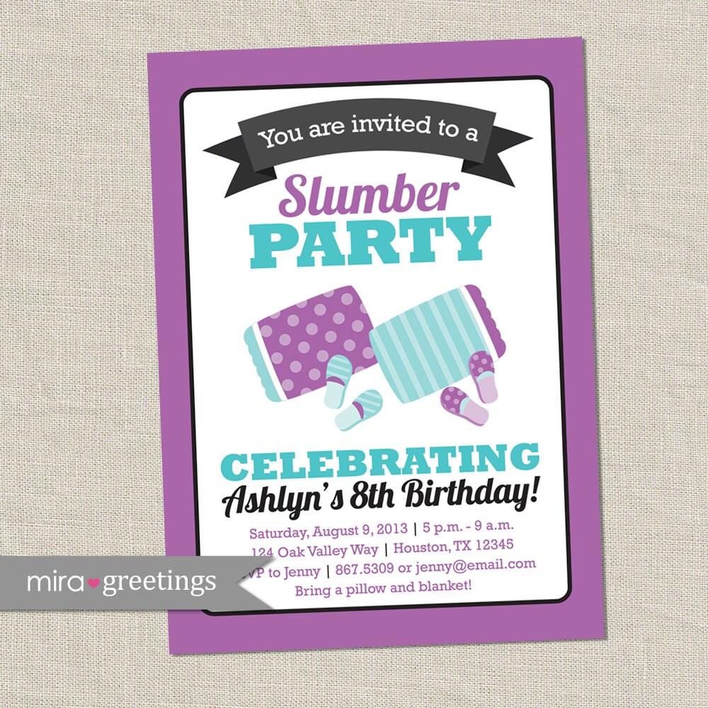 Slumber Party Invitation Birthday Party Invite Sleepover