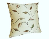 Contemporary  Cream Pillows, Embroidered Leaves, Copper Pewter Taupe, Masculine, Modern, Neutral Cushion Covers, 22x22, 20x20,