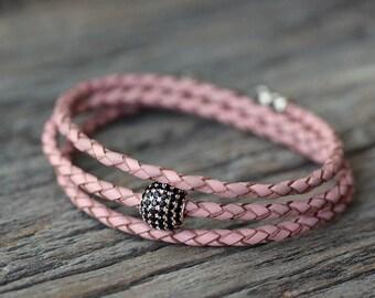 Pave Leather Wrap Bracelet / Boho Eco Friendly Pink Leather, Black CZ Sterling Silver, Pale Pastel Candy Pink, Colorful Cotton Candy Blush