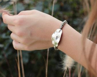 Hill Tribe Silver Boho Statement Bracelet / Silver Pyrite Beadwork Bracelet, Beaded Bracelet, Metallic, Sun Gold, Bohemian, Bohochic Jewelry