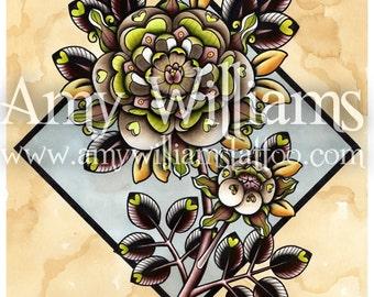 Brown Heart Petal Rose Tattoo Art A4 Print