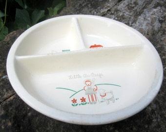 Antique Divided Baby Bowl Ceramic Dish Little Bo Peep