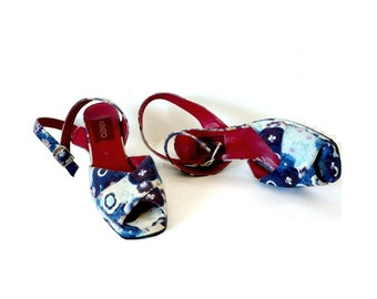 KENZO FRench Vintage Floral Prints High Heel Strapy Shoes