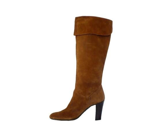 VIA UNO Italian Brown Suede Bootswith Stacked Wood Heels