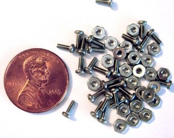 "Stainless Steel Micro Nuts and Bolts- 25 sets 3/16"" long"