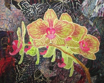 Golden Treasure Orchid - small quilted wall hanging