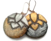 Askew Lotus Flower Gold and Silver Mosaic Tile Earrings
