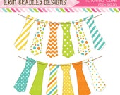 Tie Clipart Bunting Digital Boys Clip Art Graphics in Yellow Blue Green & Orange Personal and Commercial Use