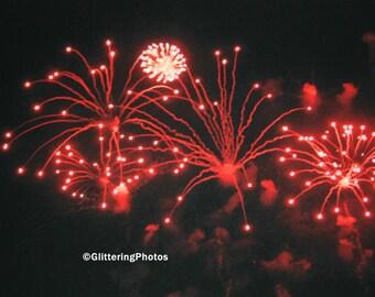 Red, Burst, Fireworks, Thunder Over Louisville, Fine Art, Photography, Print, 8 x 10, OOAK