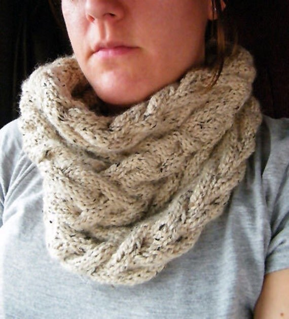 Cable Knit Infinity Scarf Knitting Pattern : Cable Cowl Infinity Scarf Knitting Pattern Digital by ...