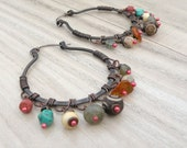 Gemstone Copper Hoops with Sterling Ear Wire, Earthy, Muted Colors - The Gypsy's Daughter Earrings
