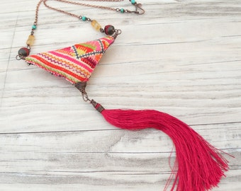 Summer Tassel Necklace -  Eclectic, Bohemian Jewelry with Silk Tassel and Vintage Hill Tribe Embroidery