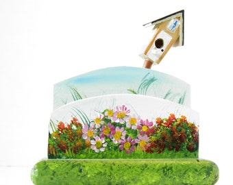 Birdhouse Business Card Holder with Flowers